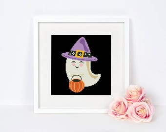 Halloween Cross stitch pattern Ghost Modern Easy chart Beginner Wall decor Happy Cute Pumpkin Spooky Fall Trick Instant download PDF #041