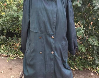 Vintage 80's Rain Jacket With Removable Wool Lining, Green Trench Coat, Size 12 Overcoat