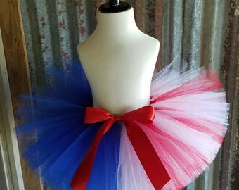 Girls Tutu Skirt, Red White and Blue Tutu, 4th of July Tutu Glitter Tulle Accent on the Red & White Side Handmade Extra Full  Patriotic Tutu