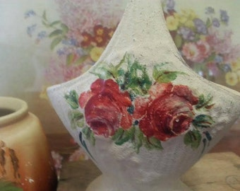 Vintage Hand Painted Ceramic Basket Vase