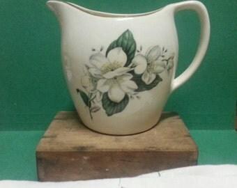 Vintage English China Jug / Vintage Ceramic Pitcher / Cream China Jug with White Flowers and Gold Trim