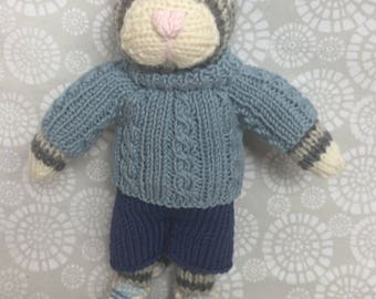 Hand knitted boy tabby cat