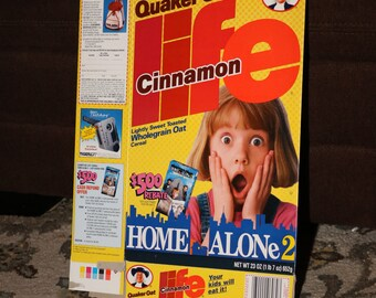 HOME ALONE 2 Cereal 1993 LIFE by Quaker Oats Company Box Vintage 1990s Card Christmas Food Box Single Game
