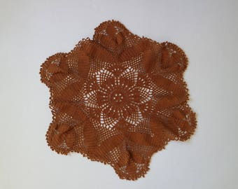 Vintage Crochet Doily, Doilies, Brown Round Doily, Vintage Table Decor, Large  Doily, Crochet Vintage Doily, Round doilies