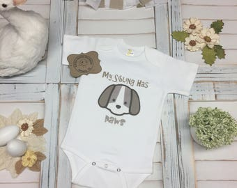 My Sibling Has Paws (Cartoon Puppy Drawing Design), Animals, Bodysuit, T-Shirt, Super Cute, Adorable, Baby Shower, Special Gift