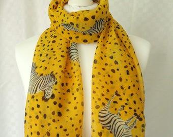 Zebra print scarf, Orange scarf with zebra print, Scarf for her, Lightweight scarf, Fashion scarf, Shawl