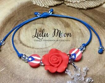Puerto Rico Bracelet, Puerto Rico Jewelry, Puerto Rico Gift, Puerto Rico Flag, Puerto Rican Flag, Boricua, Puerto Rico Florece, Coqui Taino