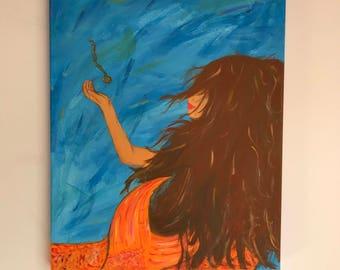 Lost Locket Treasure- A Mermaid Acrylic Canvas Painting