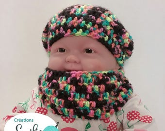 set Hat beret and scarf for children 6 months, multi-color, slouchy hat and neck warmer fall autumn