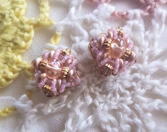 Vintage Clip on Beaded Earrings, lilac and gold tone