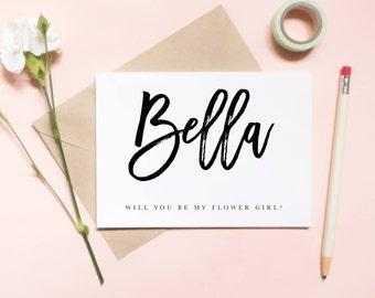 Will you be my flower girl card, flower girl card, custom name card, wedding card / SKU: LNFG01