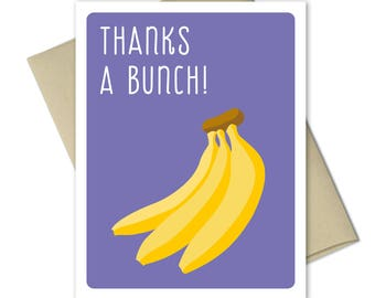 Thank you Cards - Greeting Cards - Thank you notes - Pun Cards - Thank you card set - Thanks A Bunch Bananas