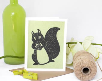 6 Blank cards - Note Card Set - Note Cards - Handmade Cards - Stationery - Linocut - Set of cards - Novelty Cards -Woodland Animals-Squirrel