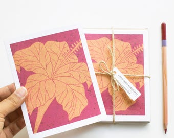 Blank cards - Note Card Set - Note Cards - Handmade Cards -Stationery - Linocut - Novelty Cards - Floral Cards - Hibiscus Flowers