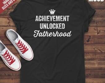 Achievement Unlocked FatherHood T-Shirt - New dad T-Shirt - New father T-shirt - Future dad Tee - Daddy to Be T-Shirt - Funny Fatherhood