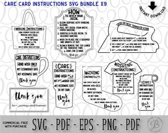 Care Card Bundle, Silhouette Business, Care Instruction Cards, Decal and HTV Application instructions, Care Card SVG, Instruction SVG, svg