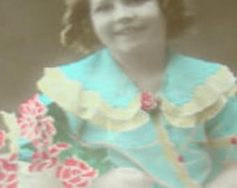 Vintage Hand Tinted RPPC of Little Girl with Flowers