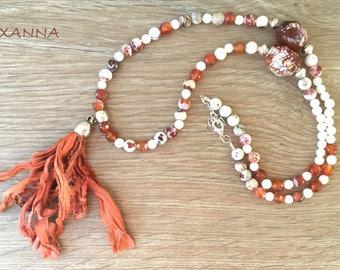 Necklace TANGERINE semi-precious /piedras / agate fire and dragon/tassel sari/Boho chic casual elegant