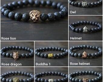 Black Bracelet Men Gift Bracelets For Him Cross Bracelet Men Helmet Bracelet Lion Bracelets Dragon Bracelet