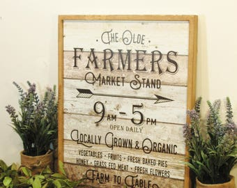 Farmers Market wall art, Vintage sign, Kitchen sign, Kitchen wall decor, Wooden sign, Framed print, Rustic sign, Farmhouse kitchen decor