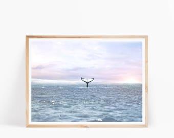 Whale Tail Photo, Ocean Water, Whale Ocean Art Print, Coastal Wall Decor, Beach Print, Beach Decor, Ocean Waves Art, Whale Printable Poster