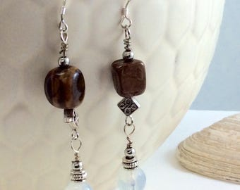 Tigereye Faceted Moonstone Silver Plated Bead Drop/Dangle Earrings with .925 Silver Wires