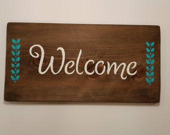 Welcome Sign, Teal, White