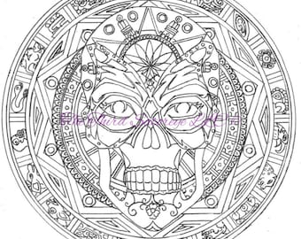 coloring page sugar skull dia de los muertos instant digital download therapeutic - Dia De Los Muertos Coloring Pages