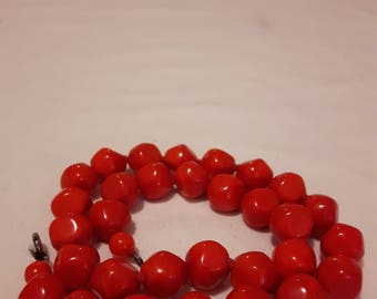 Vintage Red Glass Beads Knotted Necklace - 1970s - 18.5 inches