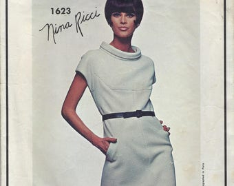 1960s Vogue  Paris Original Nina Ricci 1623 Sewinig Pattern  Dress Size 14 Bust 34