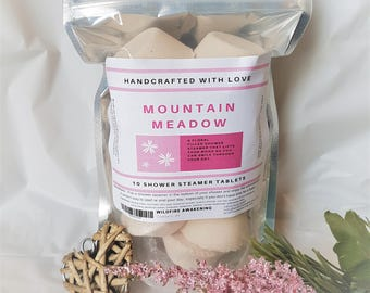 Aromatherapy Shower Steamer/Melt 10 Pack,Mountain Meadow, floral, valentines, gift for her, wife gift, made with love,