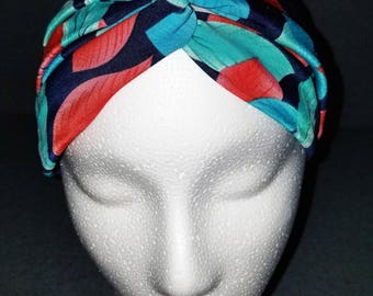 Stretchy Turban Style Headband - Red and Green Leaves