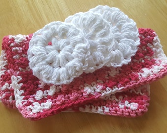 Handmade Crochet Cotton Face Scrubbies (Set of 3) and Nubbie Washcloth