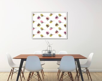Succulent Pattern Instant Download, Succulent Printable Pattern, Large Succulent Printable, Poster With Succulents, Large Digital Poster