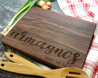 Personalized Cutting Board - Engraved Cutting Board, Custom Cutting Board, Housewarming Gift, Wedding Gift, Engagement, Anniversary (037)