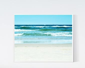 Turquoise wall art, Sea wall decor, Printable photography, Downloadable prints, Beach print, Blue wall print, Baltic sea wall art, Photo