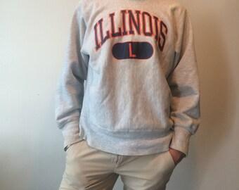 90s Illinois crew cut sweater
