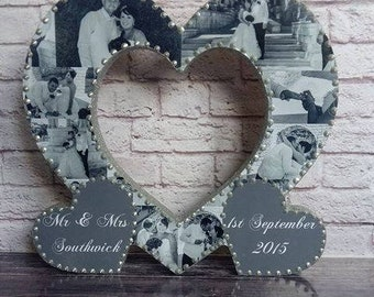 Personalised Wood Photo Collage Heart Birthday, Anniversary, Wedding Gift Present
