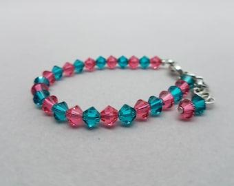 Pink and Teal Swarovski Baby Bracelet