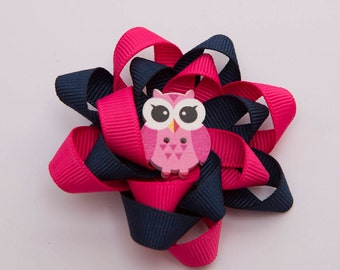 Navy & Pink Loopy Bow