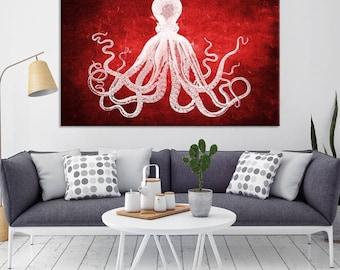Octopus Wall Art, Octopus Canvas Print, Octopus Poster Print, Wall Art Octopus, Red Octopus Wall Canvas Print, Home Decor, Wall Decal Art