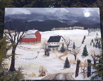 "Original Painting/Acrylic/Winter Night Scene/Farm Painting/Rural Art/ Bucks County  18x24 ""Stone Valley Farm"" by NJ Artist Linda Robinson"