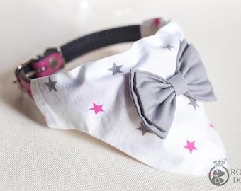 Dog Bow Bandana | Dog Girl Bandana With Bow Tie | Dog Gift | Pink and Grey Cotton Bandana | Grey Dog Bow Tie | White & Grey Dog Bandana