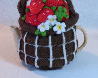 Strawberry Basket Teapot Cosy / Strawberry Teapot Cozy / Knitted teapot cosy / Handmade teapot cozy