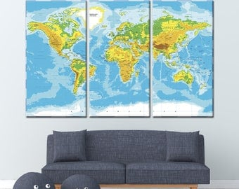 Giant World Map Etsy - Detailed map of world
