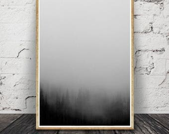 and White Forest, Minimalist Landscape, Top Selling, Nature Photography Prints Set, Nordic Art, Printable Art, Black and White Photography,