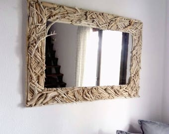 Driftwood Mirror,driftwood Wall Art,beach Decor,coastal,nautical,cottage,
