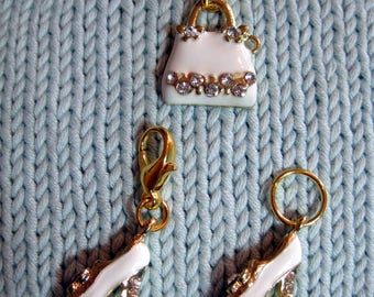 Handbag and shoes rhinestone progress keeper knitting or  crochet stitch marker or zipper pull with 14mm lobster claw clasp