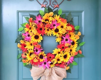 Summer Wreath, Sunflower Black Eyed Susan Wreath