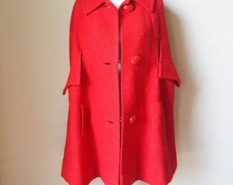Vintage ILGWU Union Made Red Button Down Coat